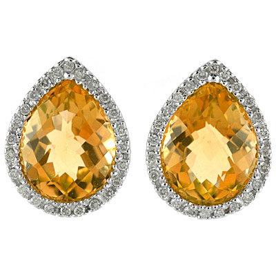 Pear Shaped Citrine and Diamond Earrings in 14k White Gold