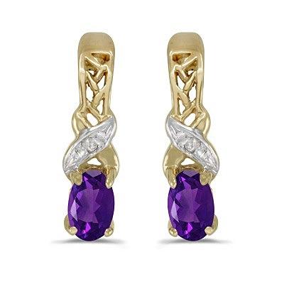 Oval Amethyst & Diamond February Birthstone Earrings 14k Yellow Gold
