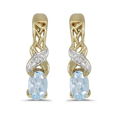Oval Aquamarine & Diamond March Birthstone Earrings 14k Yellow Gold