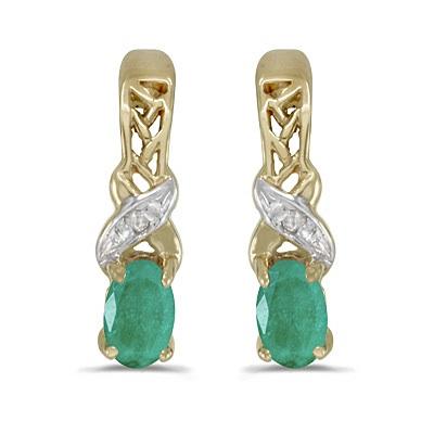 Oval Emerald & Diamond May Birthstone Earrings 14k Yellow Gold