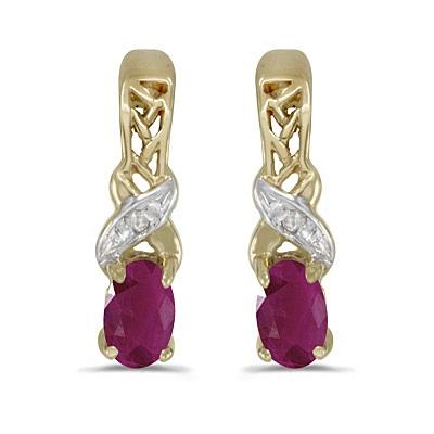 Oval Ruby & Diamond July Birthstone Earrings 14k Yellow Gold