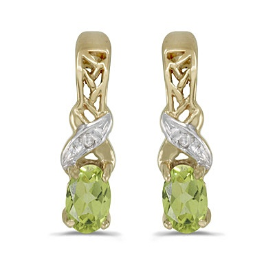 Oval Peridot & Diamond August Birthstone Earrings 14k Yellow Gold