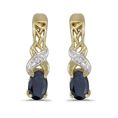 Blue Sapphire & Diamond September Birthstone Earrings 14k Yellow Gold