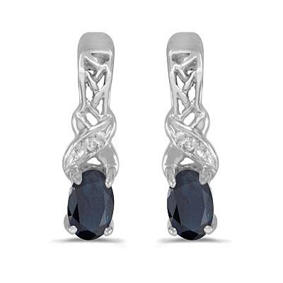 Blue Sapphire & Diamond September Birthstone Earrings 14k White Gold