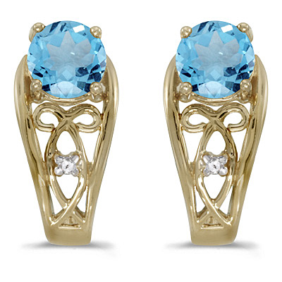 Blue Topaz & Diamond Filigree Earrings 14k Yellow Gold (1.12ctw)
