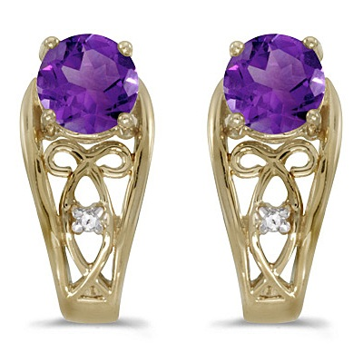 Purple Amethyst & Diamond Filigree Earrings 14k Yellow Gold (0.80ctw)