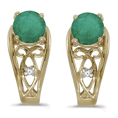 Round Emerald & Diamond Filigree Earrings 14k Yellow Gold (0.96ctw)
