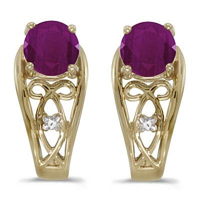 Round Ruby & Diamond Filigree Earrings 14k Yellow Gold (1.20ctw)