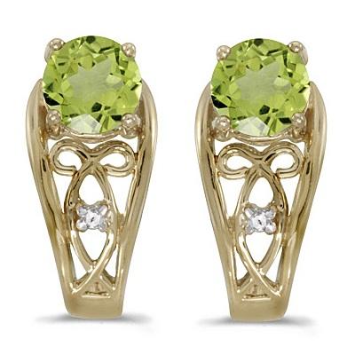 Round Peridot & Diamond Filigree Earrings 14k Yellow Gold (1.00ctw)