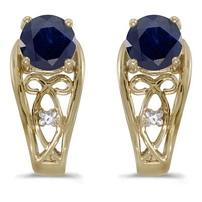 Blue Sapphire & Diamond Filigree Earrings 14k Yellow Gold (1.20ctw)
