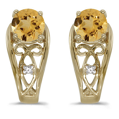Round Citrine & Diamond Filigree Earrings 14k Yellow Gold (0.80ctw)