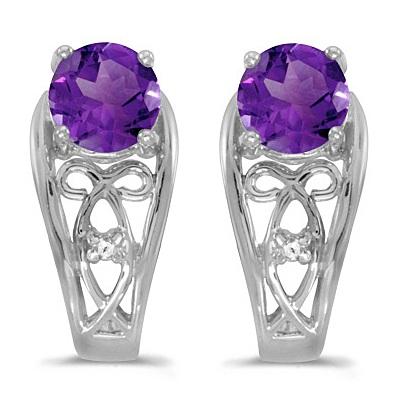 Purple Amethyst & Diamond Filigree Earrings 14k White Gold (0.80ctw)