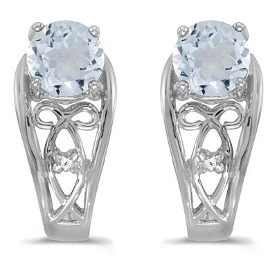 Aquamarine and Diamond Filigree Earrings 14k White Gold (0.82ctw)