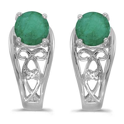 Round Emerald & Diamond Filigree Earrings 14k White Gold (0.96ctw)