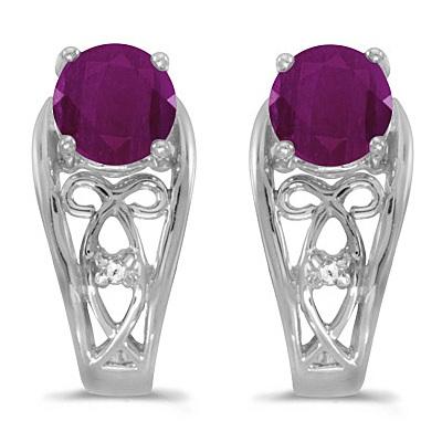 Round Ruby & Diamond Filigree Earrings 14k White Gold (1.20ctw)