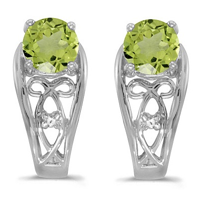 Round Peridot & Diamond Filigree Earrings 14k White Gold (1.00ctw)