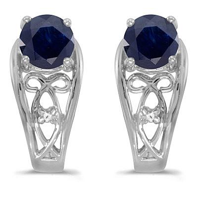 Blue Sapphire & Diamond Filigree Earrings 14k White Gold (1.20ctw)