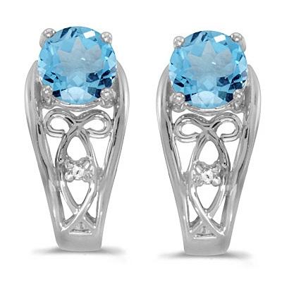 Blue Topaz & Diamond Filigree Earrings 14k White Gold (1.12ctw)