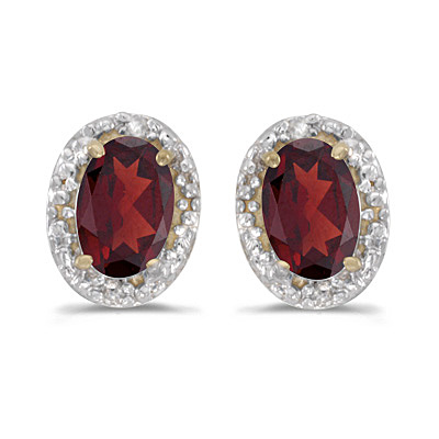 Diamond and Garnet Earrings 14k Yellow Gold (1.10 ct)