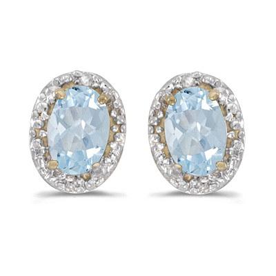 Diamond and Aquamarine Earrings 14k Yellow Gold (0.80ct)