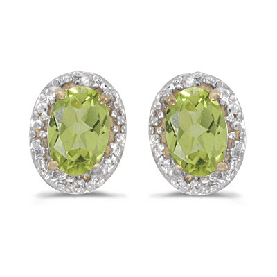 Diamond and Perdiot Earrings 14k Yellow Gold (1.10ct)