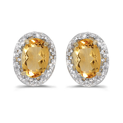 Diamond and Citrine Earrings 14k Yellow Gold (0.90ct)
