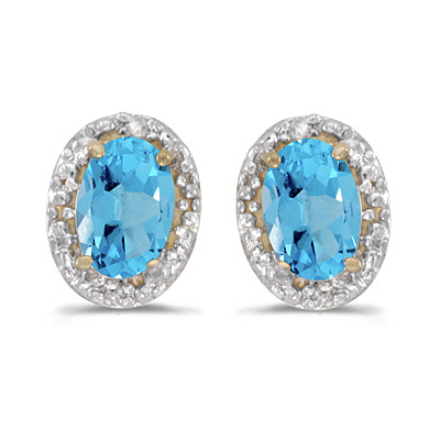 Diamond and Blue Topaz Earrings 14k Yellow Gold (1.14ct)