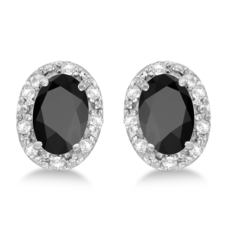 Diamond and Black Onyx Earrings 14k White Gold (1.10ct)