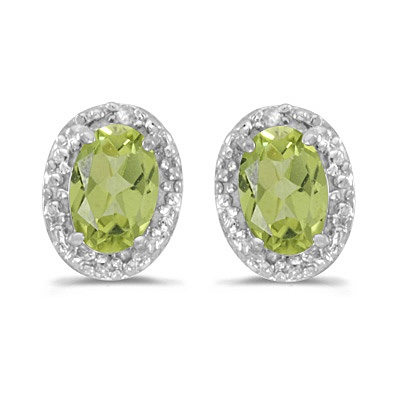 Diamond and Perdiot Earrings 14k White Gold (1.10ct)