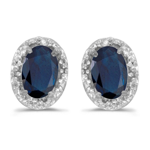 Diamond and Blue Sapphire Earrings 14k White Gold (1.20ct)