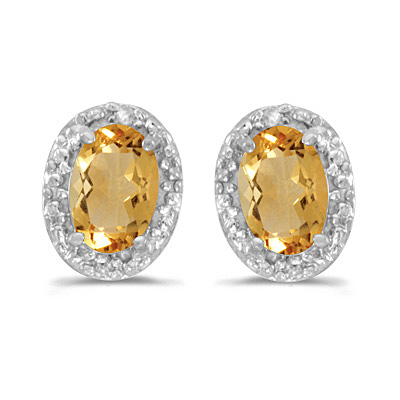 Diamond and Citrine Earrings 14k White Gold (0.90ct)