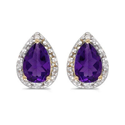Pear Amethyst and Diamond Stud Earrings 14k Yellow Gold (1.30ct)