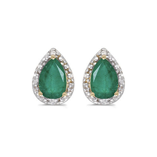 Pear Emerald and Diamond Stud Earrings 14k Yellow Gold (1.40ct)