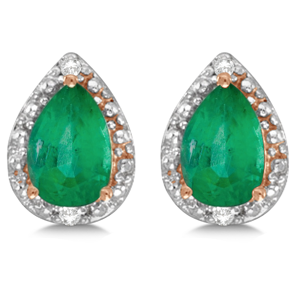 Pear Emerald and Diamond Stud Earrings 14k Rose Gold (1.40ct)