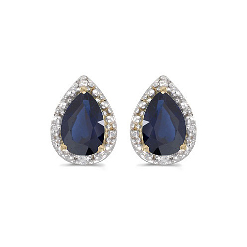 Pear Blue Sapphire and Diamond Stud Earrings 14k Yellow Gold (1.70ct)