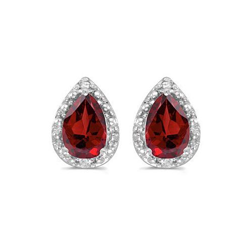 Pear Garnet and Diamond Stud Earrings 14k White Gold (1.70ct)