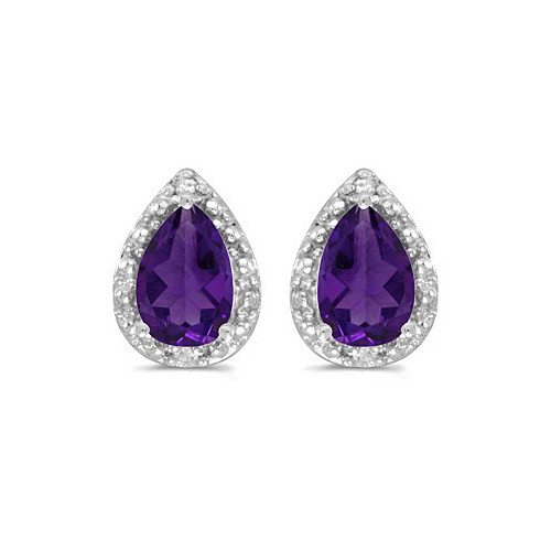 Pear Amethyst and Diamond Stud Earrings 14k White Gold (1.30ct)