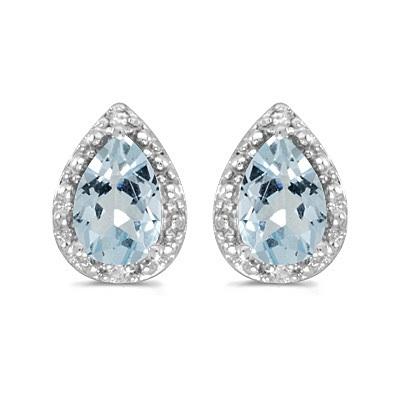 Pear Aquamarine and Diamond Stud Earrings 14k White Gold (1.20ct)