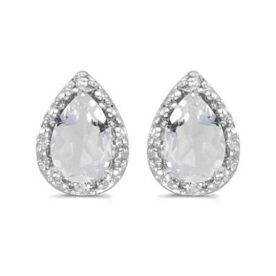 Pear White Topaz and Diamond Stud Earrings 14k White Gold (1.70ct)