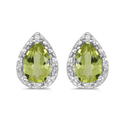Pear Peridot and Diamond Stud Earrings 14k White Gold (1.70ct)