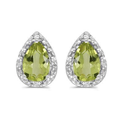 Pear Peridot and Diamond Stud Earrings 14k White Gold (1.70ct)