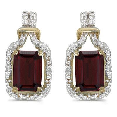 Emerald-Cut Garnet and Diamond Earrings 14k Yellow Gold (2.06ct)