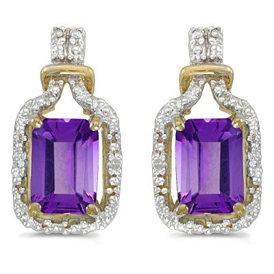 Emerald-Cut Amethyst and Diamond Earrings 14k Yellow Gold (1.78ct)
