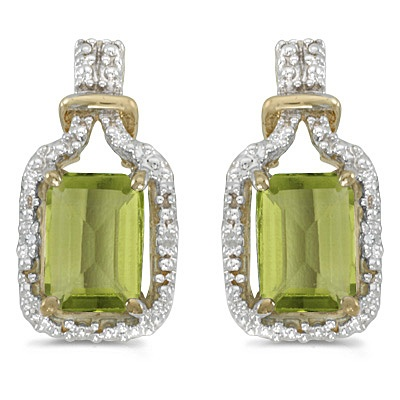 Emerald-Cut Peridot and Diamond Earrings 14k Yellow Gold (2.06ct)