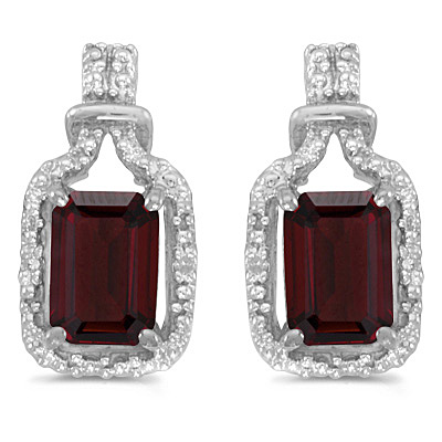 Emerald-Cut Garnet and Diamond Earrings 14k White Gold (2.06ct)