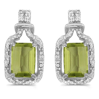 Emerald-Cut Peridot and Diamond Earrings 14k White Gold (2.06ct)
