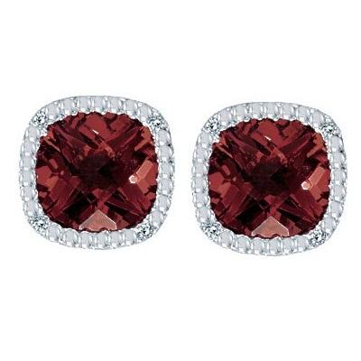 Cushion-Cut Garnet and Diamond Earrings in 14k White Gold