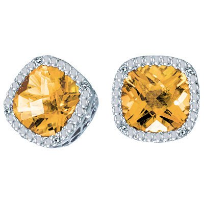 Cushion Cut Citrine and Diamond Earrings in 14k White Gold
