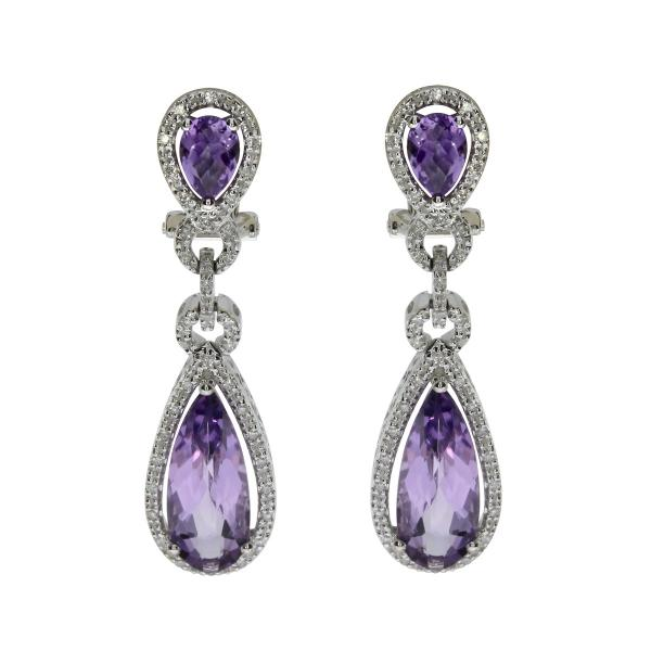 Pear Shaped Amethyst & Diamond Dangle Earrings 14K White Gold 5.74ct