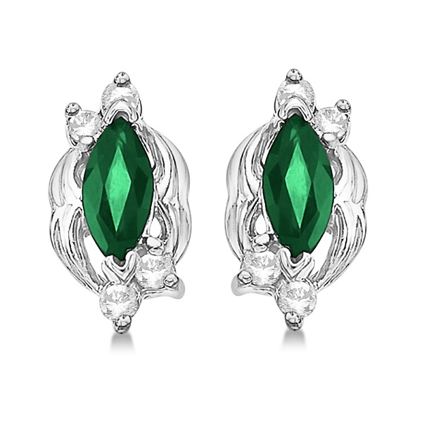 Marquise Emerald & Diamond Stud Earrings in 14K White Gold (0.62ct)